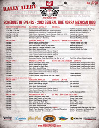 2013 Mexican 1000 Schedule of Events